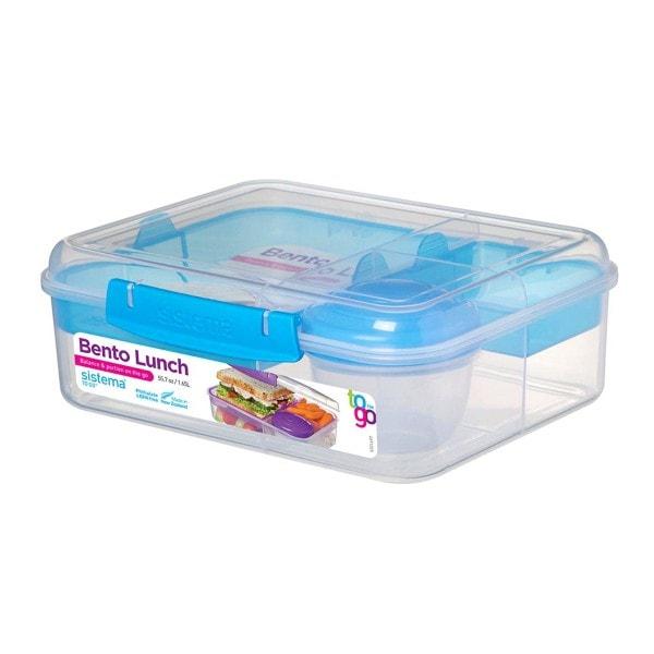 Bento Lunchbox To Go, unterteilt, transparent-blau