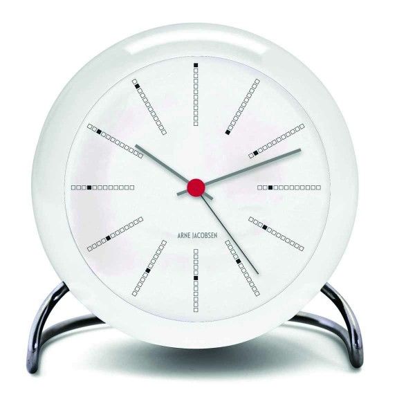 Arne Jacobsen Tischuhr Clock Bankers mit Alarm weiß