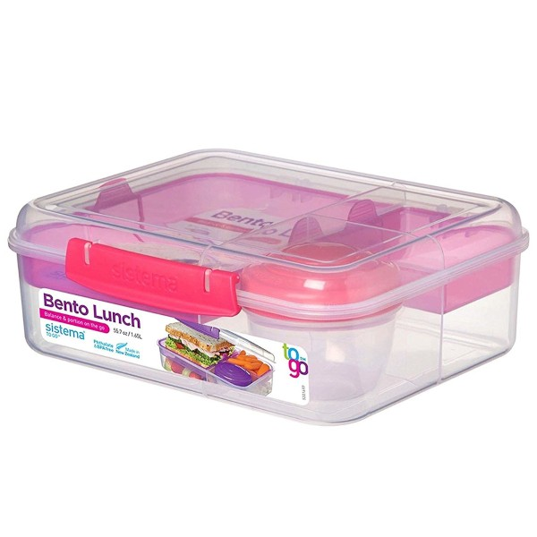 Bento Lunchbox To Go, unterteilt, transparent-pink