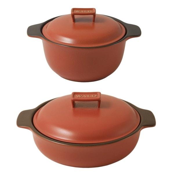 WALD 2er-Set Keramik-Kochtöpfe klein, ziegelrot