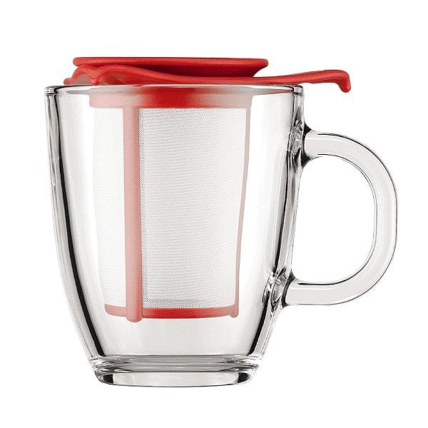 Bodum YO-YO SET Glastasse mit Kunststofffilter, 0.35 l rot