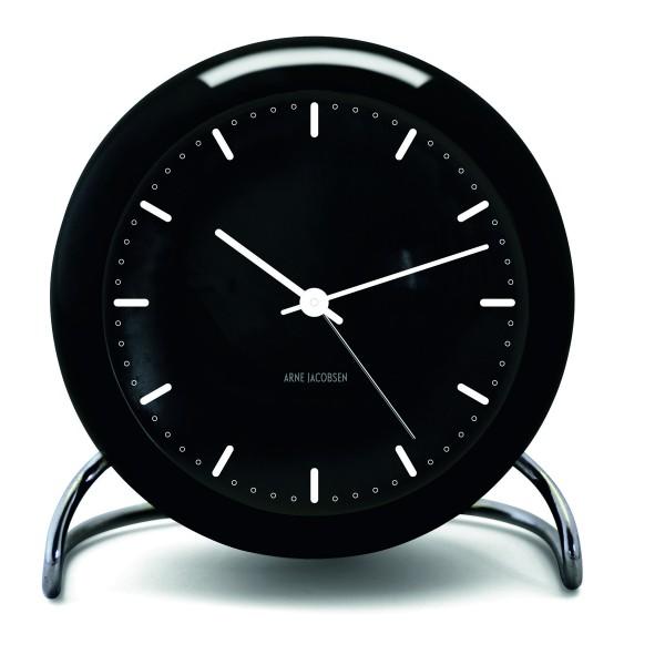 Arne Jacobsen Tischuhr Clock City Hall mit Alarm schwarz