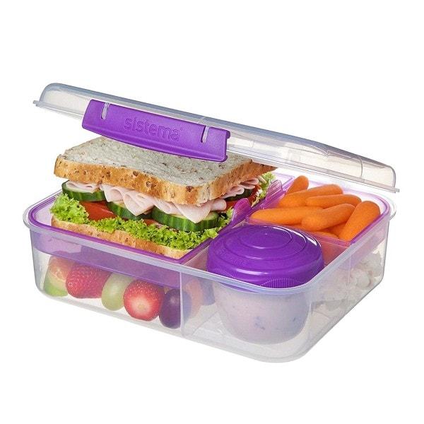 Bento Lunchbox To Go, unterteilt, transparent-lila