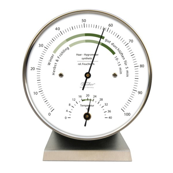 Wohnklima Thermo- Hygrometer, Edelstahlsockel