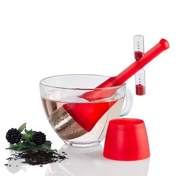 AdHoc Teefilter TEA TIME mit drehbarer Sanduhr, rot
