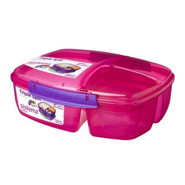 sistema Lunchbox Triple Split mit Joghurt Behälter, pink