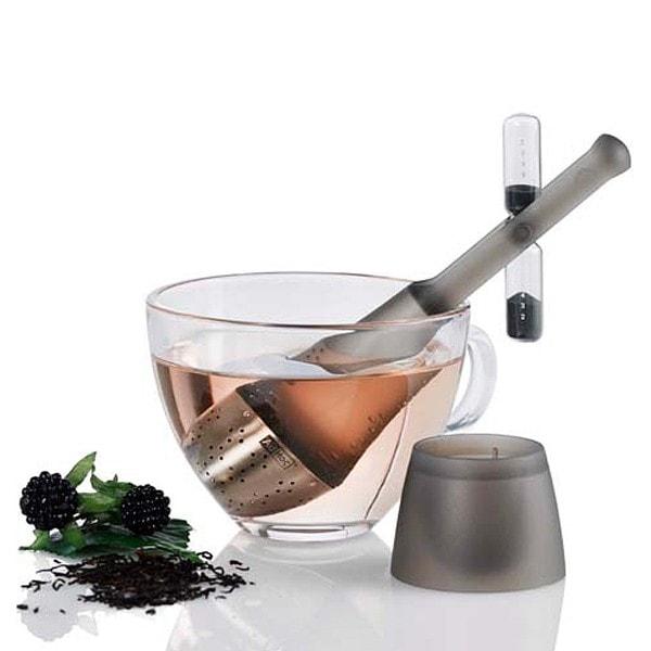 AdHoc Teefilter TEA TIME mit drehbarer Sanduhr, schwarz