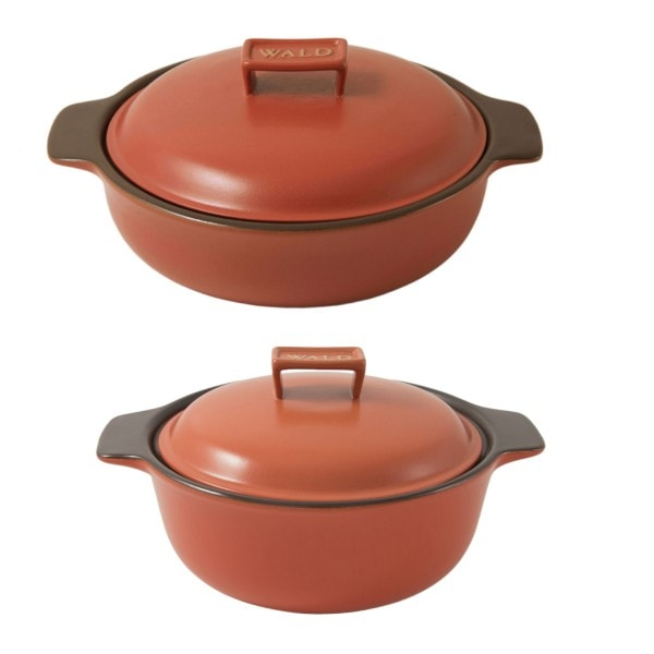 WALD 2er-Set Keramik-Kochtöpfe Induktion ziegelrot
