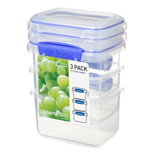 sistema Frischhaltedose Klip it, 0.4 l 3er-Set transparent-blau