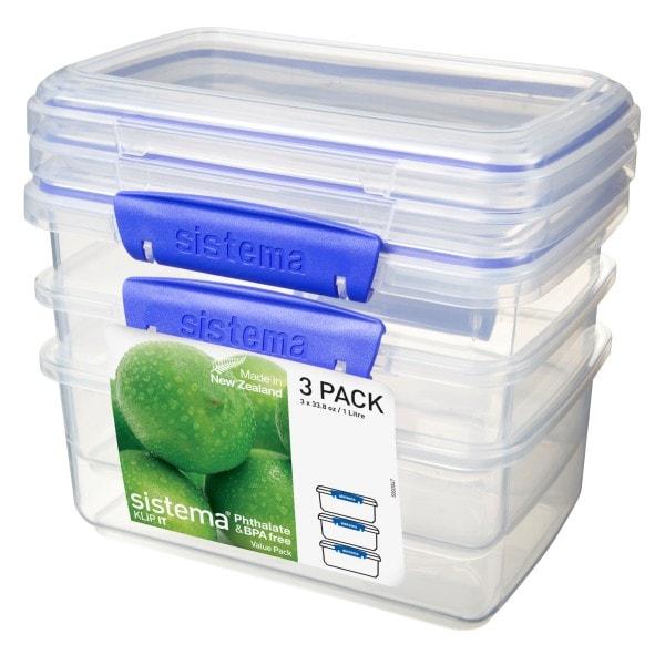 sistema Frischhaltedose Klip it , 1 l 3er-Set transparent-blau