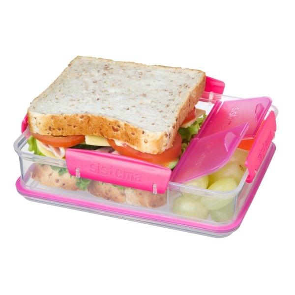 sistema Brotdose mit Snackfach, transparent-pink