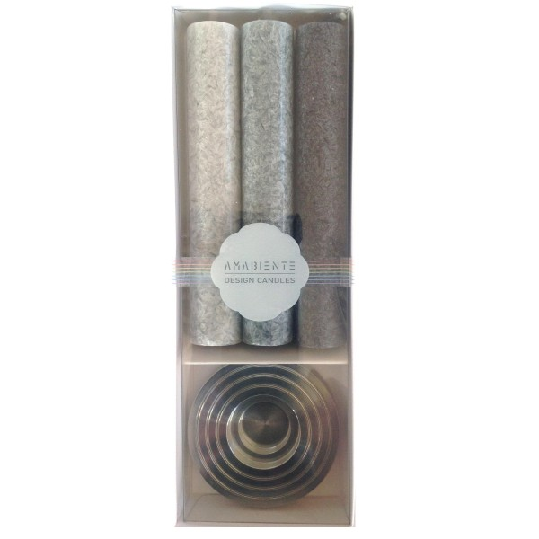 Amabiente Kerzen-Geschenkset RONDO, grau