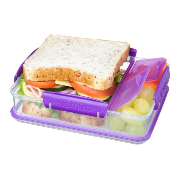 sistema Brotdose mit Snackfach, transparent-lila