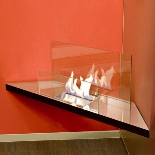 Radius Kamin CORNER FLAME hochglanz Glas, transparent