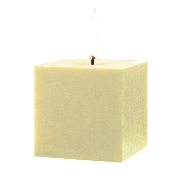 Amabiente Kerze KUBUS elfenbein 12cm