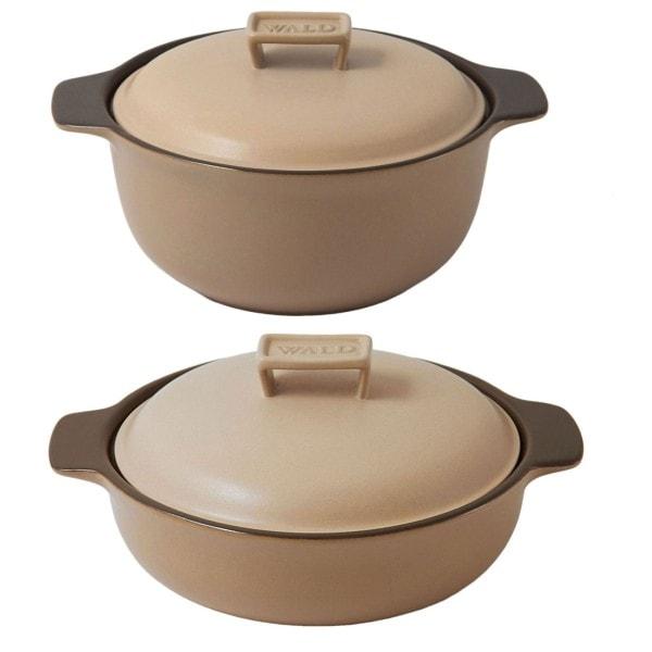 WALD 2er-Set Keramik-Kochtöpfe mittelgroß, beige