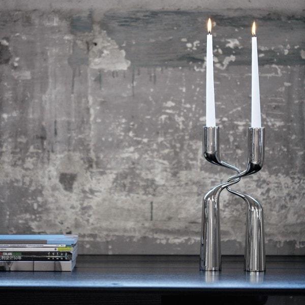 Menu Kerzenständer DOUBLE 32cm Edelstahl - 2er Set