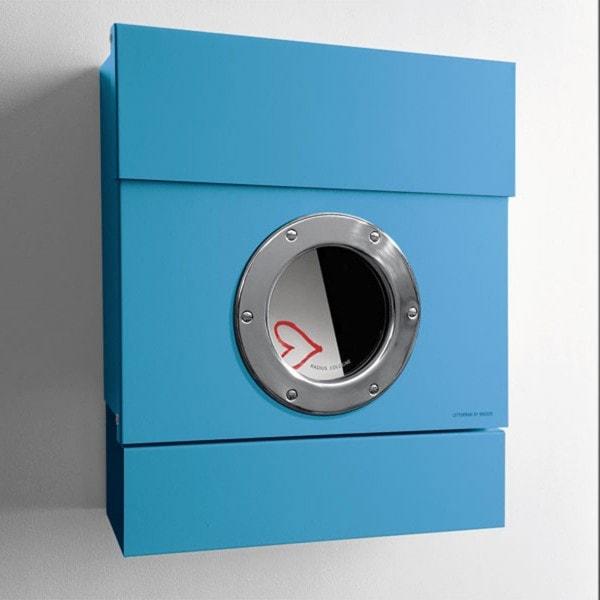 Radius Briefkasten LETTERMAN II blau mit Zeitungsrolle