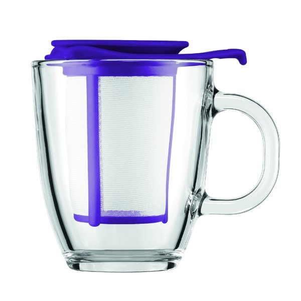 Bodum YO-YO SET Glastasse mit Kunststofffilter, 0.35 l lila