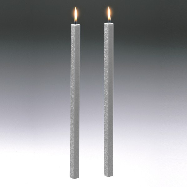 Amabiente Kerze CLASSIC silbergrau 40cm - 2er Set