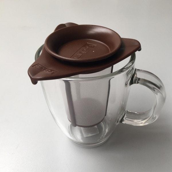 Bodum YO-YO SET Glastasse mit Kunststofffilter, 0.35 l braun