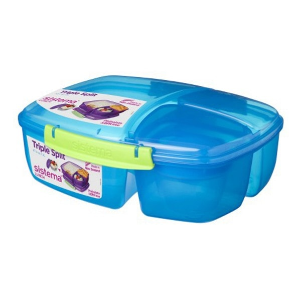 sistema Lunchbox Triple Split mit Joghurt Behälter, blau