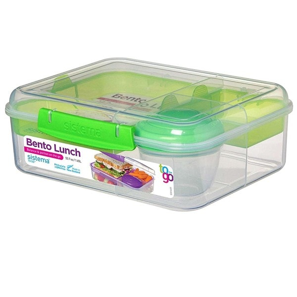 Bento Lunchbox To Go, unterteilt, transparent-grün