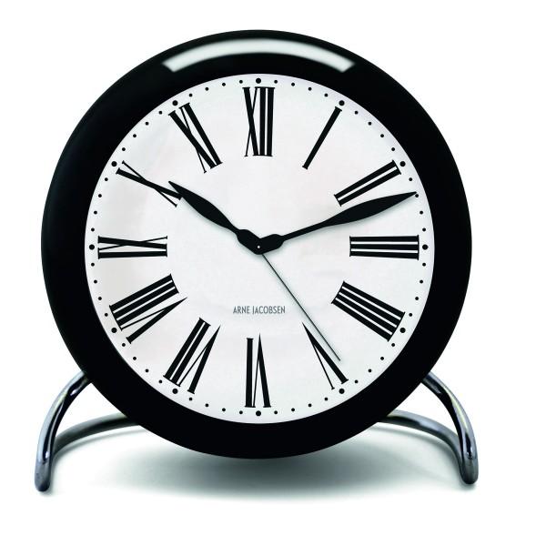 Arne Jacobsen Tischuhr Clock Roman mit Alarm schwarz