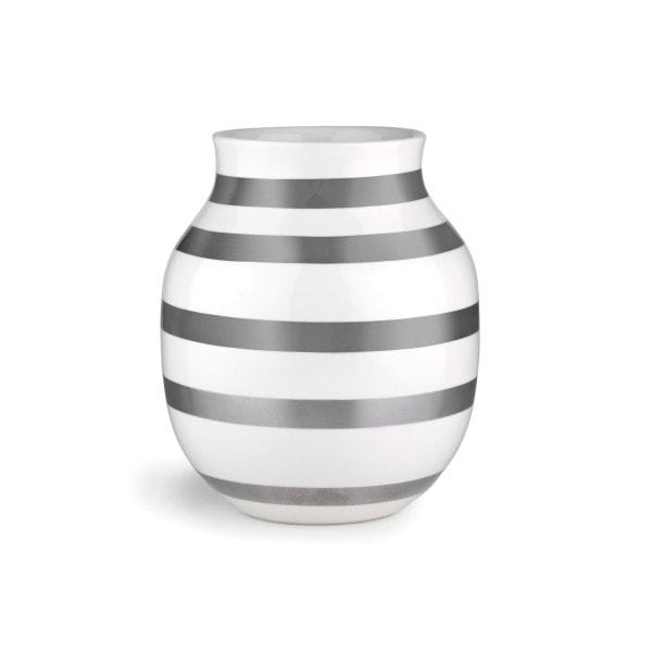 Kähler Vase Omaggio M silber-weiß