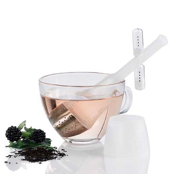 AdHoc Teefilter TEA TIME mit drehbarer Sanduhr, weiß