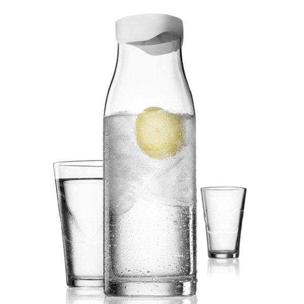 Menu SET Karaffe 1L weiss mit 2 Gläsern