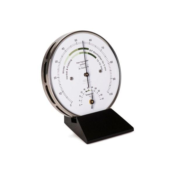 Wohnklima Thermo- Hygrometer, Holzsockel schwarz