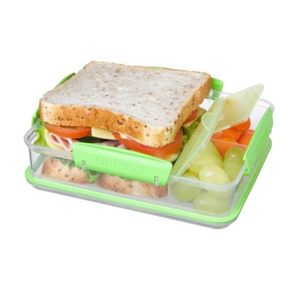 sistema Brotdose mit Snackfach, transparent-grün