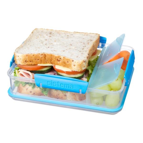sistema Brotdose mit Snackfach, transparent-blau