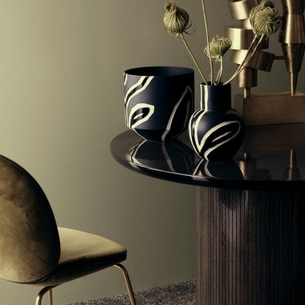 Kähler Vase FIORA 25 cm, blau gemustert