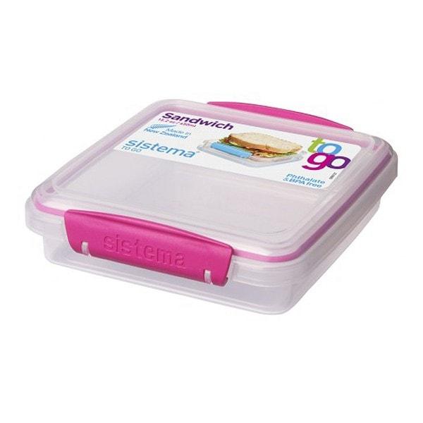 sistema kleine Brotdose, transparent-pink